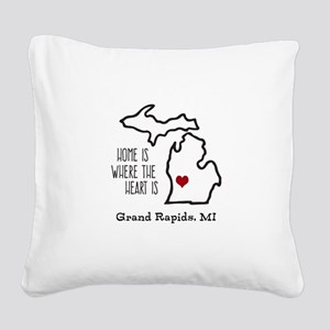 Personalized Michigan Heart Square Canvas Pillow