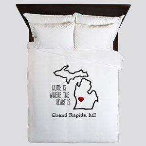 Personalized Michigan Heart Queen Duvet