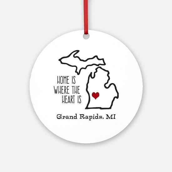 Personalized Michigan Heart Round Ornament