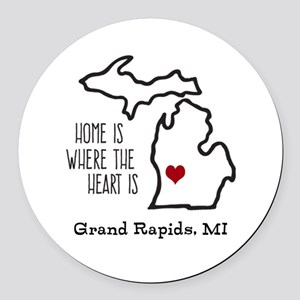 Personalized Michigan Heart Round Car Magnet