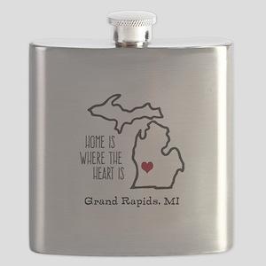 Personalized Michigan Heart Flask