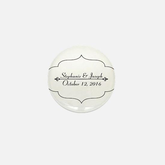 Elegant Wedding Name and Date Custom Mini Button