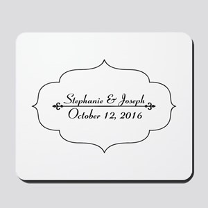 Elegant Wedding Name and Date Custom Mousepad