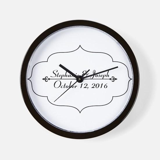 Elegant Wedding Name and Date Custom Wall Clock
