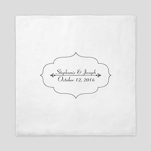 Elegant Wedding Name and Date Custom Queen Duvet