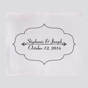 Elegant Wedding Name and Date Custom Throw Blanket