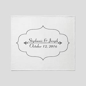 Elegant Wedding Name and Date Custom Throw Blanket