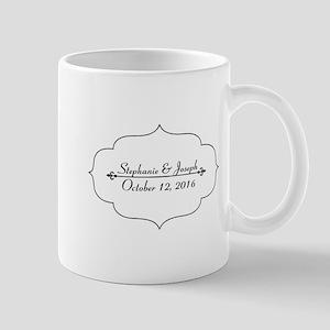 Elegant Wedding Name and Date Custom Mugs