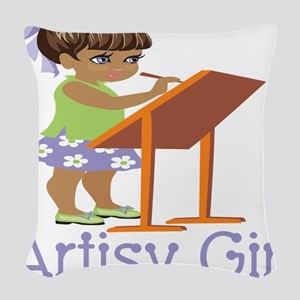 Art Girl Woven Throw Pillow