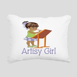 Art Girl Rectangular Canvas Pillow