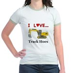 I Love Track Hoes Jr. Ringer T-Shirt