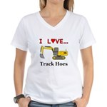 I Love Track Hoes Women's V-Neck T-Shirt