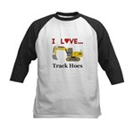 I Love Track Hoes Kids Baseball Jersey