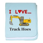I Love Track Hoes baby blanket
