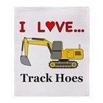 I Love Track Hoes Throw Blanket