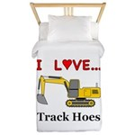 I Love Track Hoes Twin Duvet