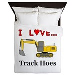 I Love Track Hoes Queen Duvet