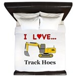 I Love Track Hoes King Duvet