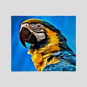 Blue Macaw Bird Throw Blanket
