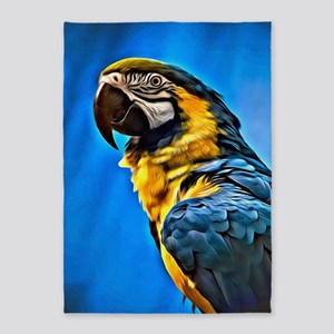 Blue Macaw Bird 5'x7'Area Rug