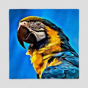 Blue Macaw Bird Queen Duvet