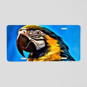 Blue Macaw Bird Aluminum License Plate