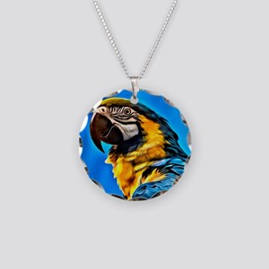 Blue Macaw Bird Necklace Circle Charm