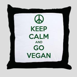 Keep Calm and GO VEGAN Throw Pillow