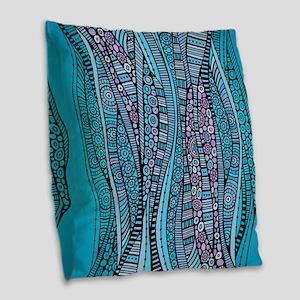 Abstract Waves Burlap Throw Pillow