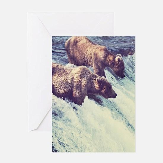 Bears Fishing Greeting Cards