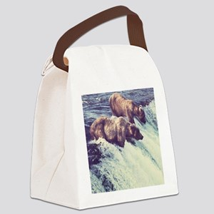 Bears Fishing Canvas Lunch Bag