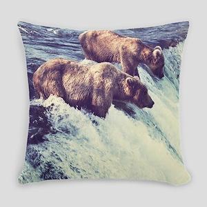 Bears Fishing Everyday Pillow