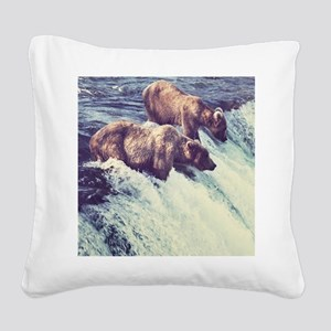 Bears Fishing Square Canvas Pillow