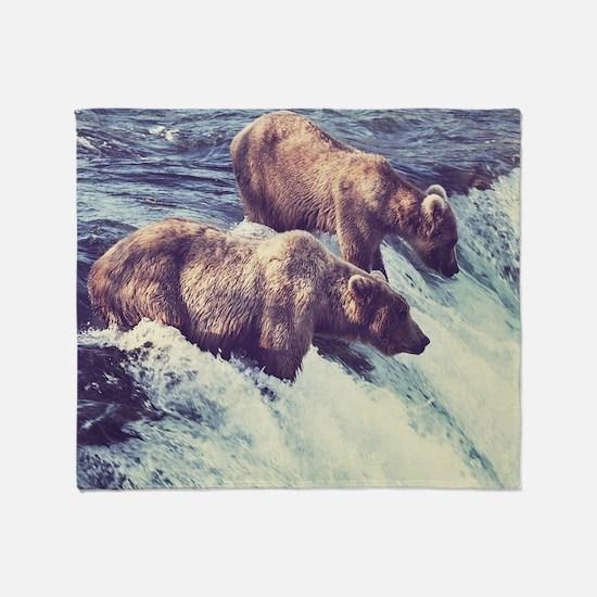 Bears Fishing Throw Blanket