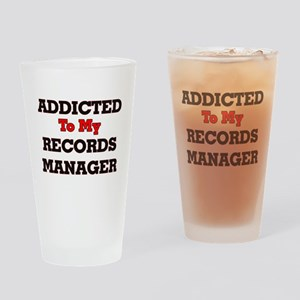 Addicted to my Records Manager Drinking Glass