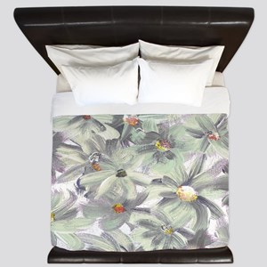 Painted Flowers King Duvet