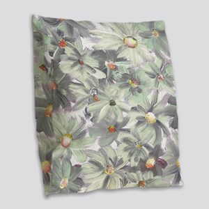 Painted Flowers Burlap Throw Pillow