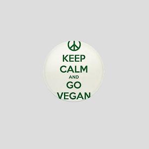 Keep Calm and GO VEGAN Mini Button