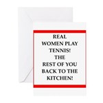 real women sports and gaming joke Greeting Cards