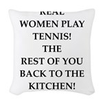 real women sports and gaming joke Woven Throw Pill