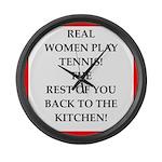 real women sports and gaming joke Large Wall Clock