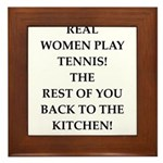 real women sports and gaming joke Framed Tile