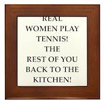 real women sports and gaming joke Framed Tile