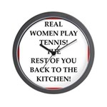 real women sports and gaming joke Wall Clock