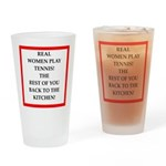 real women sports and gaming joke Drinking Glass