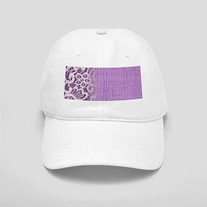 country chic purple burlap lace Cap