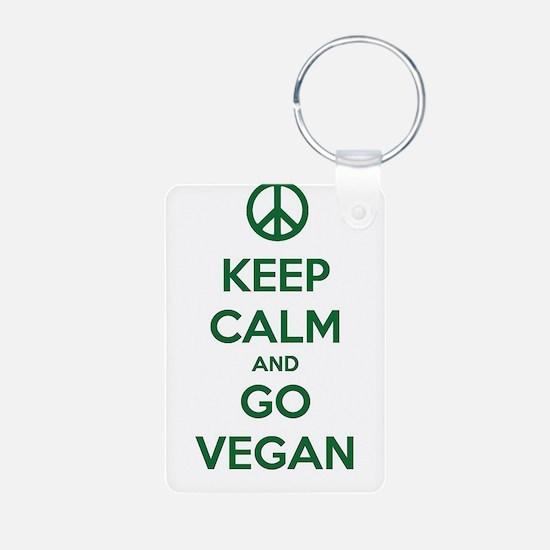 Keep Calm and GO VEGAN Keychains