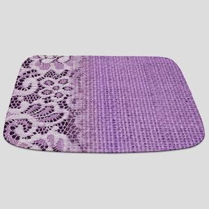 country chic purple burlap lace Bathmat
