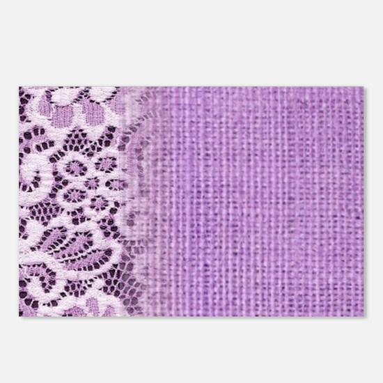 country chic purple burla Postcards (Package of 8)