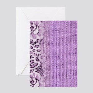 country chic purple burlap lace Greeting Cards